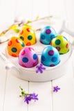 Ovos de Easter coloridos com flores da mola Imagens de Stock Royalty Free