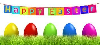 Ovos de Easter coloridos na grama verde isolada ilustração royalty free