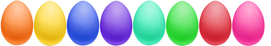 Ovos de Easter coloridos todos em uma fileira imagem de stock royalty free