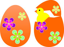 Ovos de Easter com pintainho Imagens de Stock