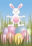 Ovos de Easter e coelho pequeno imagens de stock