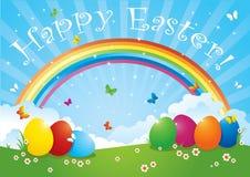 Ovos de Easter em cores do arco-íris Imagem de Stock