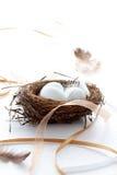 Ovos de Easter em um ninho com fitas e penas Fotografia de Stock Royalty Free