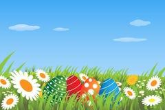 Ovos de Easter em um prado - vetor ilustração royalty free