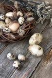 Ovos de Easter na cesta de vime Imagem de Stock