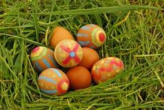 Ovos de Easter na grama no jardim Imagem de Stock Royalty Free
