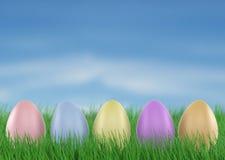 Ovos de Easter na grama verde fresca 3d rendem ilustração do vetor