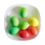 Ovos de Easter na placa Fotografia de Stock