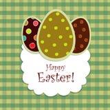 Ovos de Easter no backgr checkered verde Fotografia de Stock