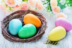 Ovos de easter pintados decorativos Fotos de Stock