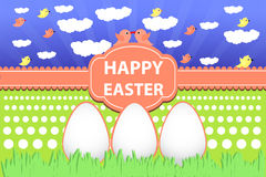 Ovos de feriados da Páscoa na grama e no céu ilustração royalty free
