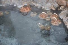 Ovos de fervura na mola quente fotos de stock royalty free