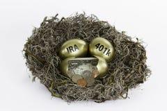 Ovos de ninho dourados com o um ovo quebrado - IRA e 401k Foto de Stock