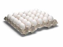 Ovos de uma galinha na embalagem em um fundo branco. fotos de stock royalty free