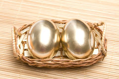 Ovos dourados de Easter Foto de Stock Royalty Free