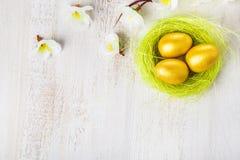 Ovos dourados em um ninho Imagem de Stock Royalty Free