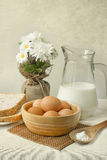 Ovos e leite Fotografia de Stock