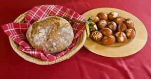 Ovos e pão orientais Fotografia de Stock