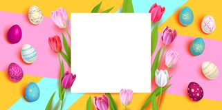 Ovos e tulips de Easter ilustração do vetor