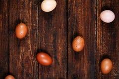 Ovos em um fundo escuro Fotos de Stock Royalty Free