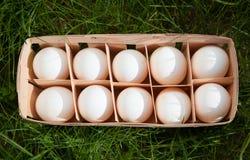 Ovos em uma cesta de vime Foto de Stock Royalty Free