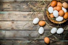 Ovos em uma cesta fotos de stock royalty free