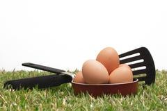 Ovos em uma frigideira Imagens de Stock Royalty Free