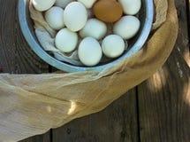 Ovos em uma peneira em uma tabela de madeira Imagem de Stock