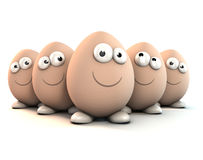 Ovos engraçados como caráteres dos desenhos animados um 3d Fotografia de Stock Royalty Free