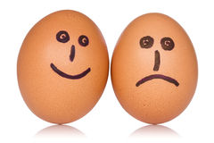 Ovos felizes e irritados Foto de Stock Royalty Free