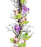 Ovos, flores do açafrão da mola, ramos, folhas Beira sem emenda floral para a Páscoa watercolor Fotografia de Stock Royalty Free