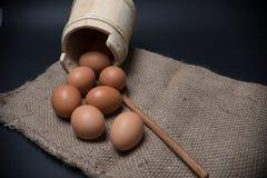 Ovos fora da cubeta de madeira Fotografia de Stock