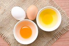 Ovos frescos diferentes e ovos do pato Imagens de Stock