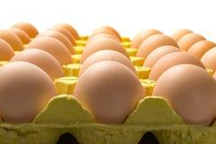 Ovos frescos em um pacote de papel no branco Fotografia de Stock Royalty Free