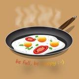 Ovos fritados com tomate Imagens de Stock