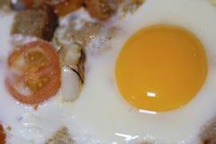Ovos fritados perto acima imagens de stock