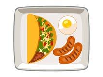 Ovos fritos da salsicha do no espeto do vetor em uma placa em um fundo branco ilustração royalty free