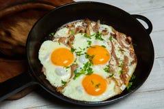 Ovos fritos em uma frigideira com becon Ovos fritos com bacon em uma bandeja temperado com ervas e pimenta Fotos de Stock