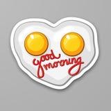 Ovos fritos na forma do coração Ovo Scrambled Bom dia Alimento saudável Etiqueta dos desenhos animados no estilo cômico com conto ilustração stock