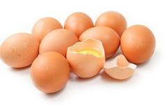 Ovos isolados no fundo branco Fotos de Stock Royalty Free