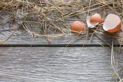 Ovos marrons da galinha fresca na madeira rústica, fundo do conceito do cultivo orgânico Fotos de Stock Royalty Free