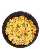Ovos mexidos com cogumelos e vegetais em uma frigideira Vista superior Isolado Foto de Stock Royalty Free