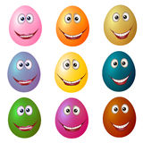 ovos Multi-coloridos com olhos Fotos de Stock