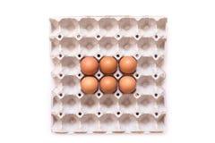 Ovos na bandeja de papel Foto de Stock Royalty Free