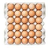 Ovos na bandeja de papel isolada no branco Foto de Stock Royalty Free