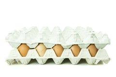 Ovos na bandeja de papel isolada no fundo branco Fotografia de Stock