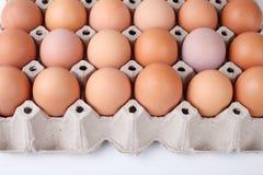Ovos na bandeja de papel na tabela de madeira Fotografia de Stock