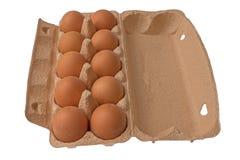 Ovos na caixa de cartão isolada no branco Fotos de Stock Royalty Free