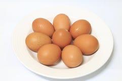 Ovos na placa branca fotografia de stock