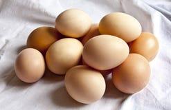Ovos no drapery branco Imagem de Stock Royalty Free